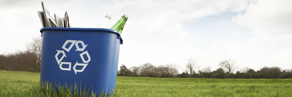 Bottles and newspapers in a blue recycling bucket in a field