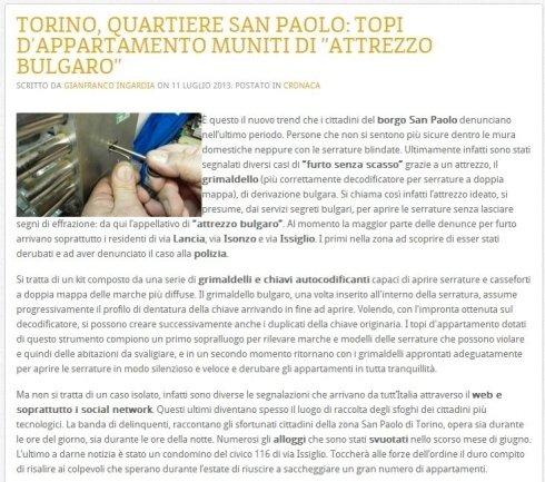 un articolo di giornale che parla di alcuni ladri scassinatori che utilizzano un attrezzo bulgaro