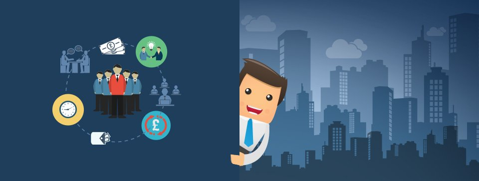 A cartoon man against a city skyline background, holding a circle chart showing people and money