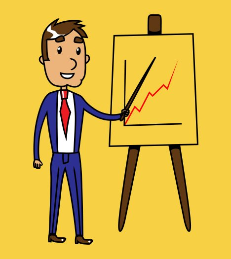 Cartoon of a man in blue suit and red tie, standing beside a flip chart on a stand, pointing to a graph