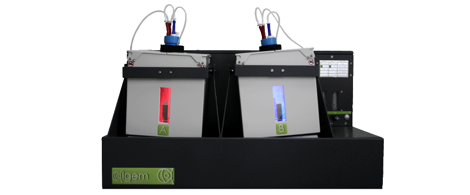Front view - Algae photobioreactor, with two reactor vessels and red and blue leds