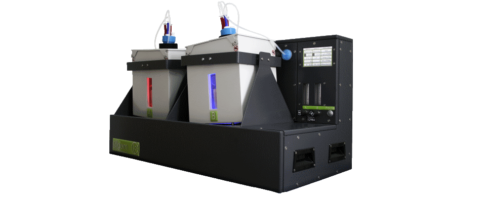Front angled view - Algae photobioreactor, with two reactor vessels and red and blue leds