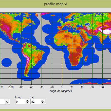 World map displaying geographical modelling feature