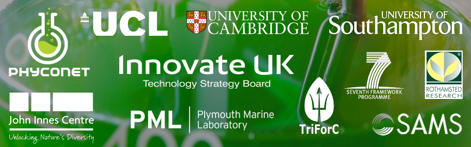 Partner logos including  - Cambridge, Southampton, UCL, Plymouth, TriForC, SAMS, Innovate UK, Rothamsted, John Innes Centre, Phyconet