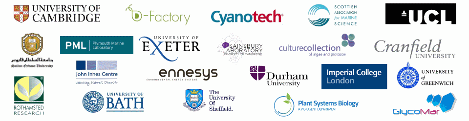 Algem photobioreactor customers include - Cambridge, SAMS, UCL, Exeter, Cranfield, Durham, Imperial College, Greenwich, Bath, Sheffield, Rothamsted, Plymouth