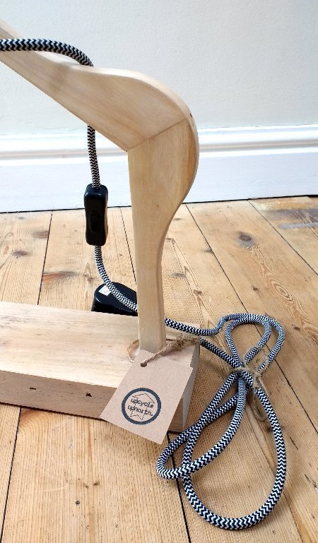 upcycled wooden light, upcycled wood lamp, upcycled lamp, coathanger lamp, coathanger light, desk lamp, table lamp, vintage bulb lamp