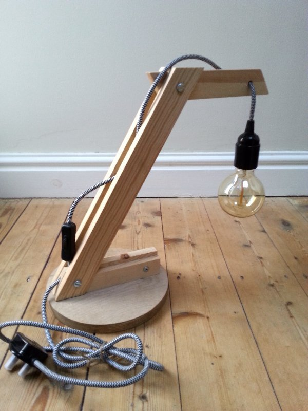 upcycled wood lamp, upcycled wood light, wooden angle poise lamp, vintage style fabric flex, Edison bulb lamp, filament bulb lamp