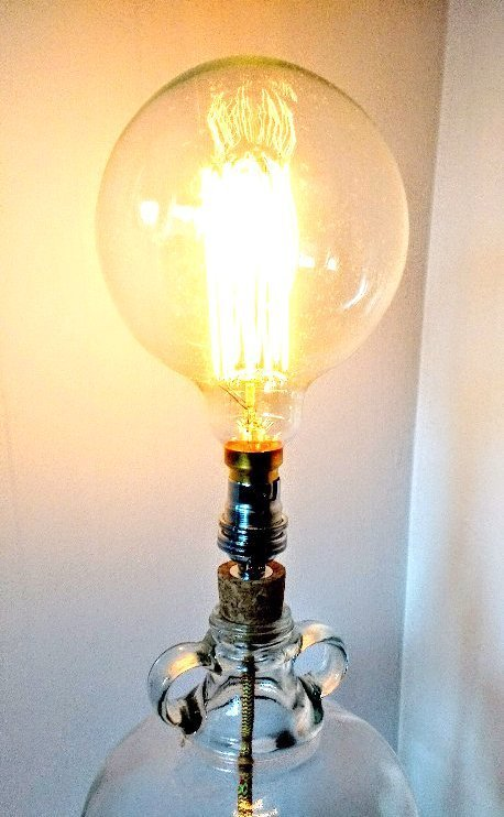 upcycled lighting, demijohn light, demijohn lamp, filament bulb lamp, vintage demijohn