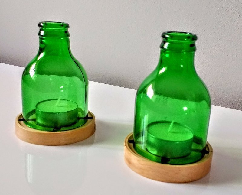 upcycled glass bottle, beer bottle candle, beer bottle tea light holder, upcycled candle holders