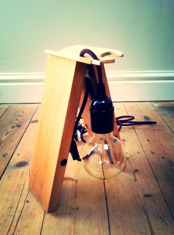 upcycled lamp, wooden lamp, vintage bulb, edison bulb, vintage fabric lamp flex, bakelite bulb holder, handmade upcycled lamp, designer lamp