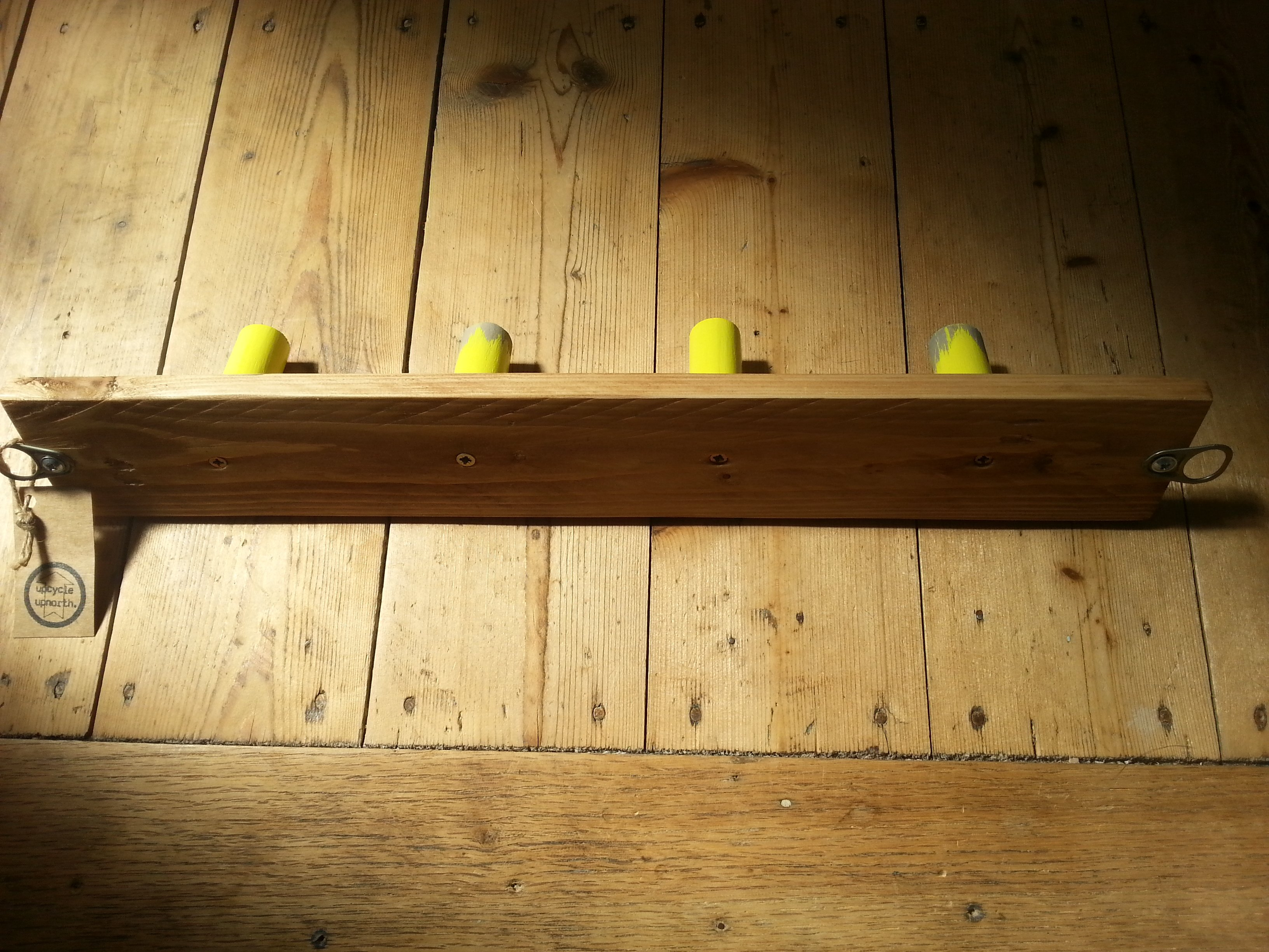 upcycled wooden hook rack, sustainable, designed, handmade, reclaimed wood, reuse, eco conscious gifts, yellow hooks, wall hooks