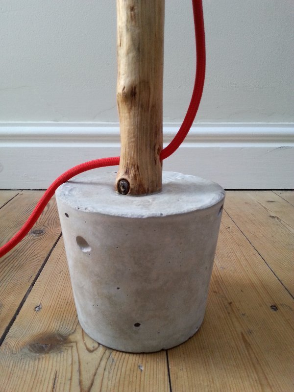 upcycled concrete lamp, upcycled tree branch lamp, concrete, salvaged, branch, wood, vintage, edison bulb lamp, upcycled table lamp, vintage fabric lamp flex, bakelite bulb holder