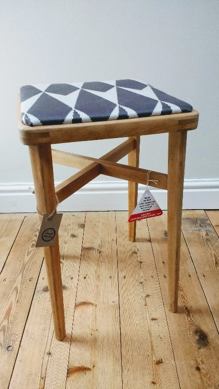 retro stool, reupholstered stool, 1960's stool, upcycled stool, wooden stool