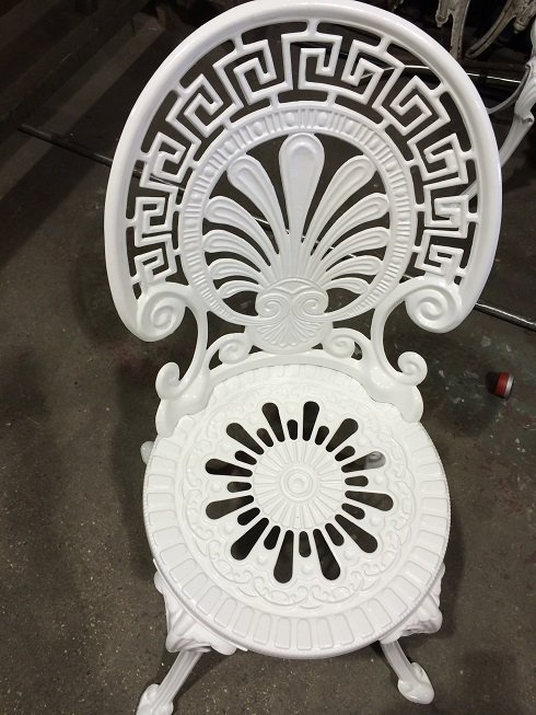 Patio chair shot blasted and coated