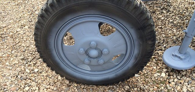 Wheel grit blasted and painted