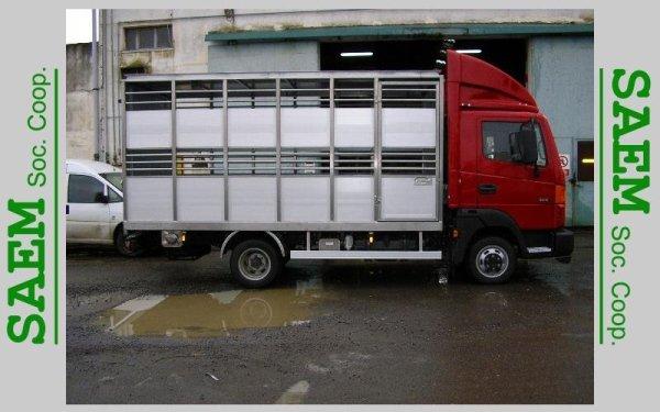 un rimorchio a gabbia di un camion
