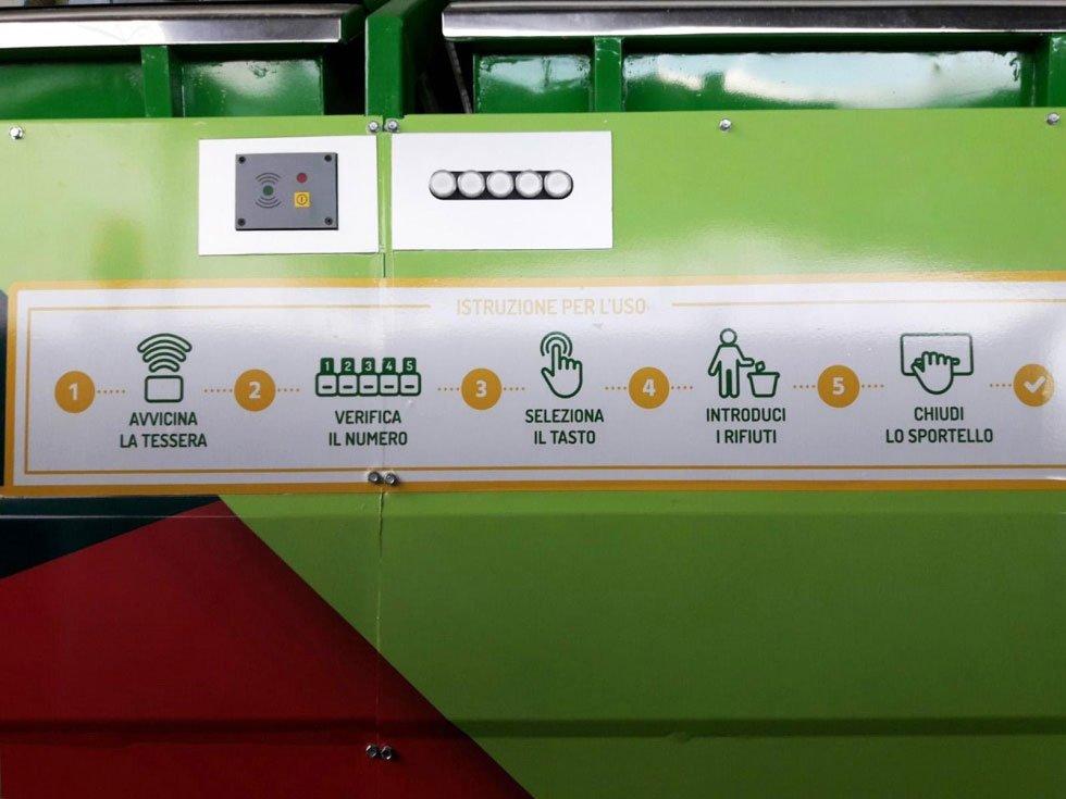 Istruzioni nel camion della spazzatura ecologico