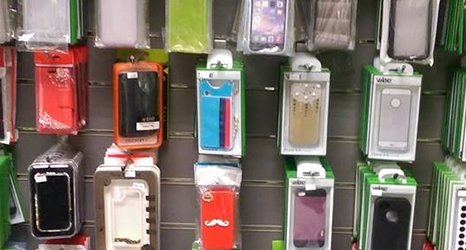 phone accessories on display