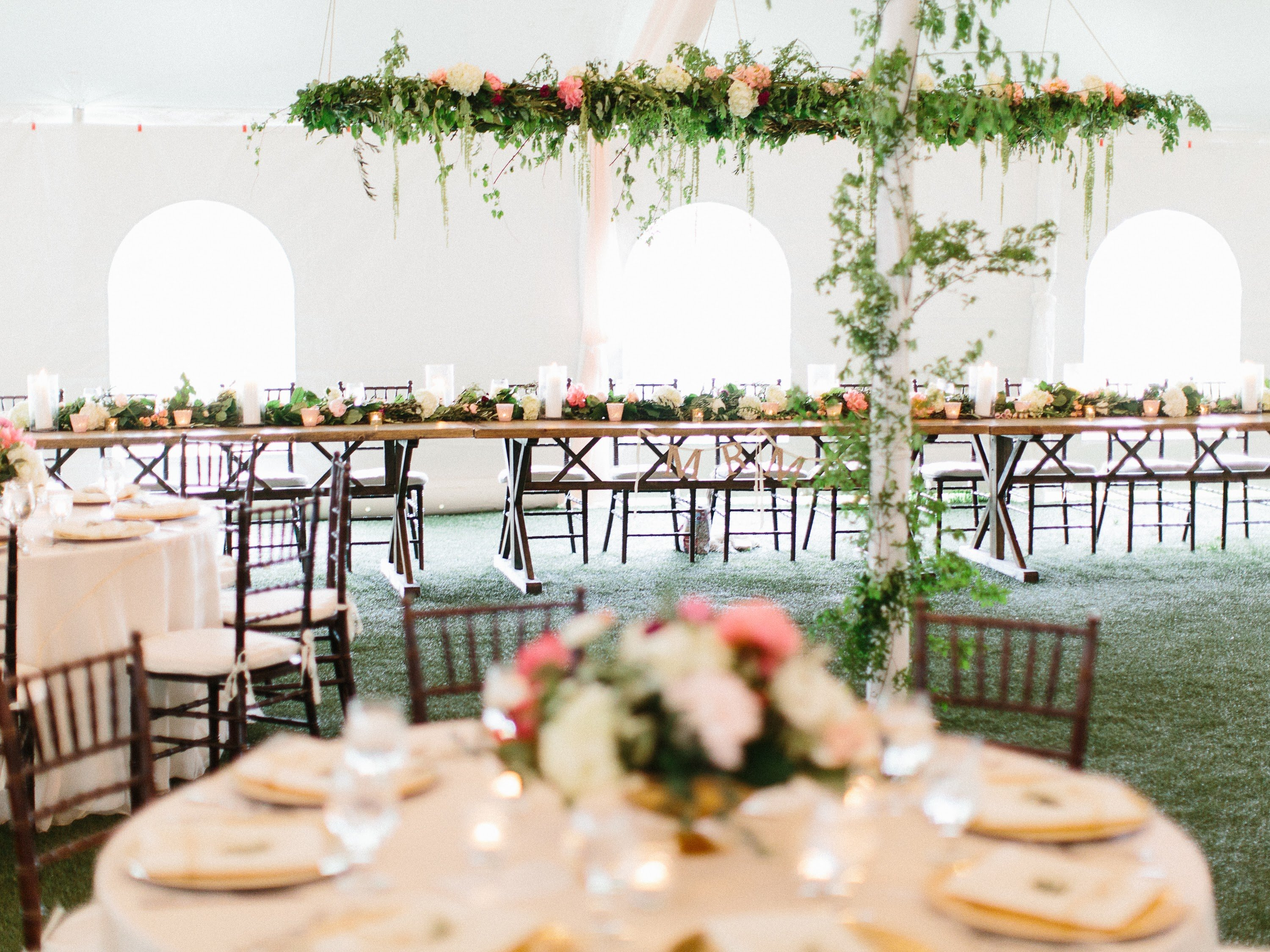 reception hall floral decor