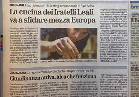 un articolo di giornale riguardante il ristorante Leali