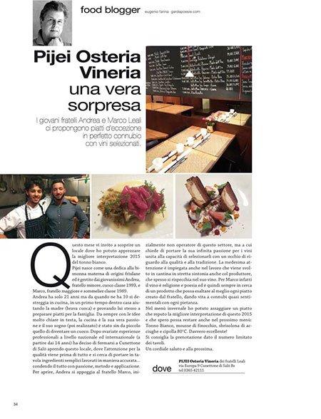 un articolo di una rivista su Pijei Osteria Vineria