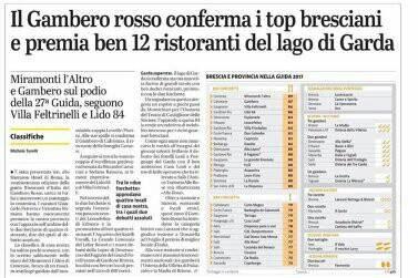 un articolo di giornale che parla del Gambero rosso che ha confermato i top bresciani e ha premiato 12 ristoranti del Lago di Garda