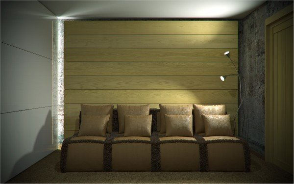 una stanza con un divano e dei cuscini in pelle