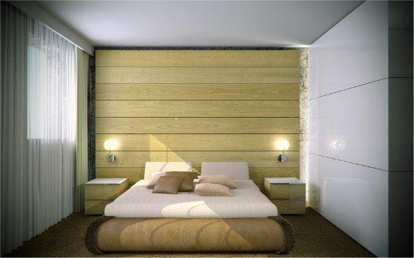 vista camera da letto con un letto matrimoniale e due comodini
