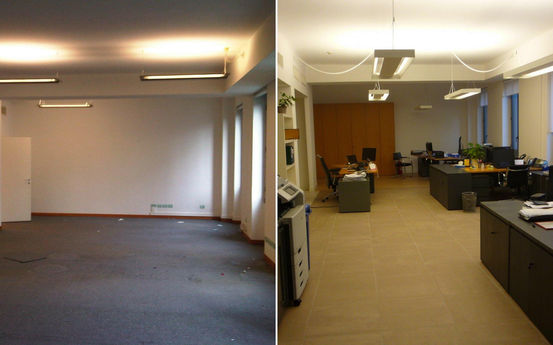 interno di un ufficio ristrutturato, prima vuoto dopo completamente arredato in stile moderno