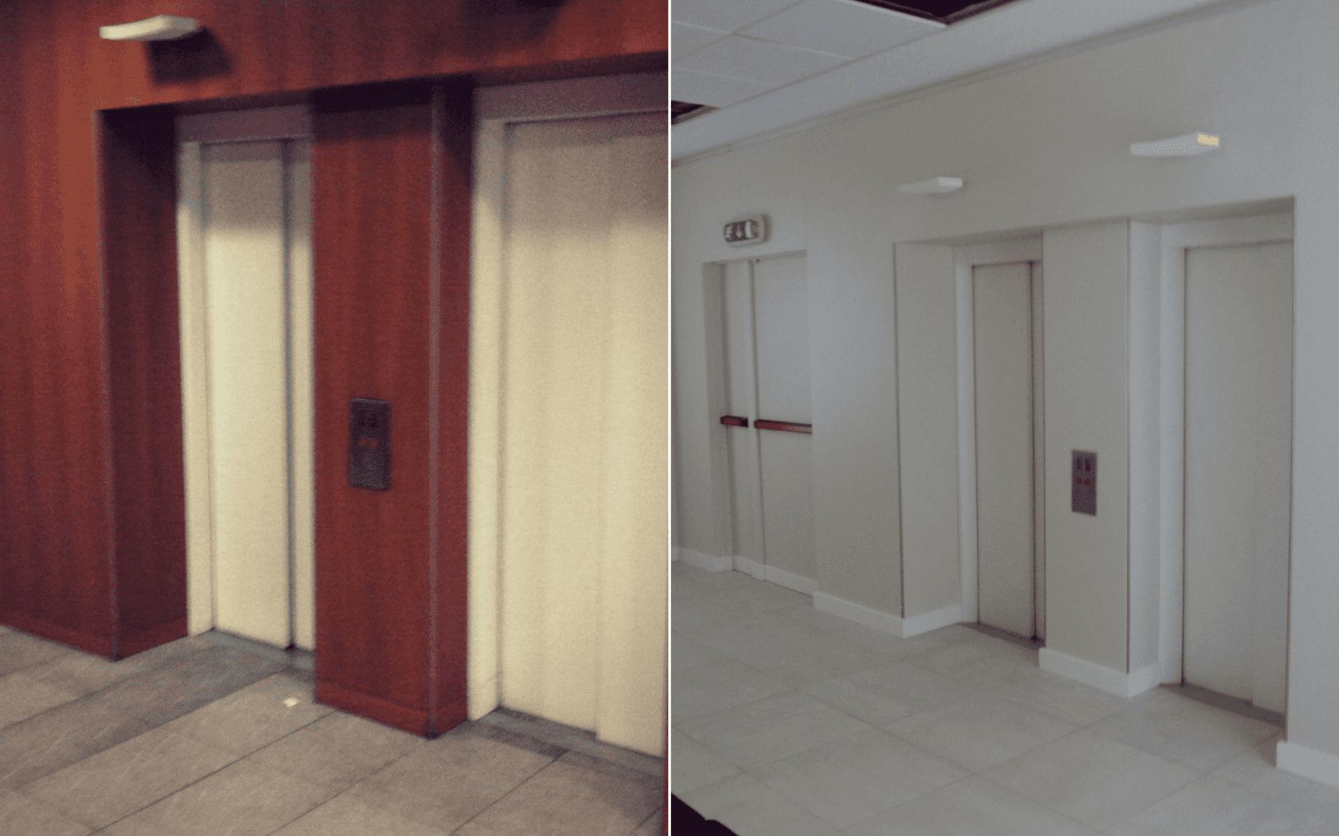 interno di edificio ristrutturato, prima e dopo