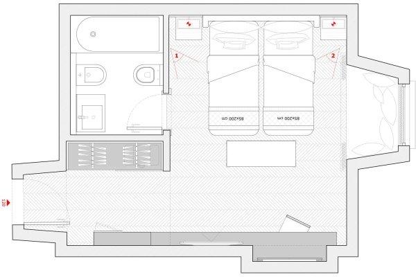 pianta camera albergo
