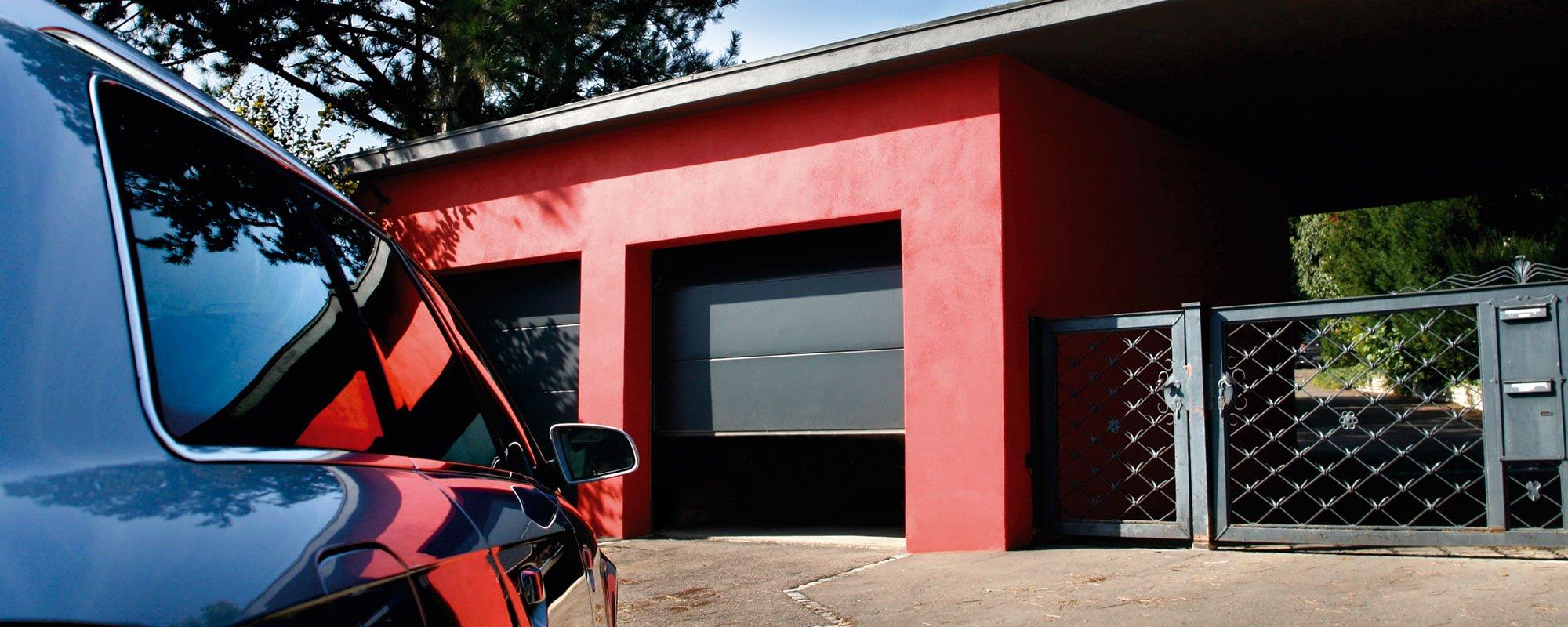 Black color automated garage door