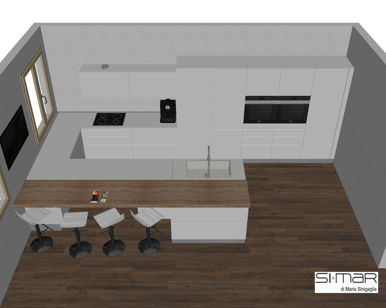 un'immagine in Cad una cucina moderna con penisola