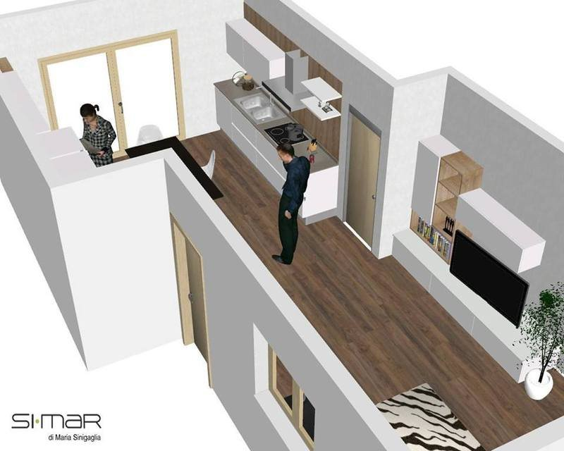 un'immagine in Cad di un uomo e una donna in una cucina