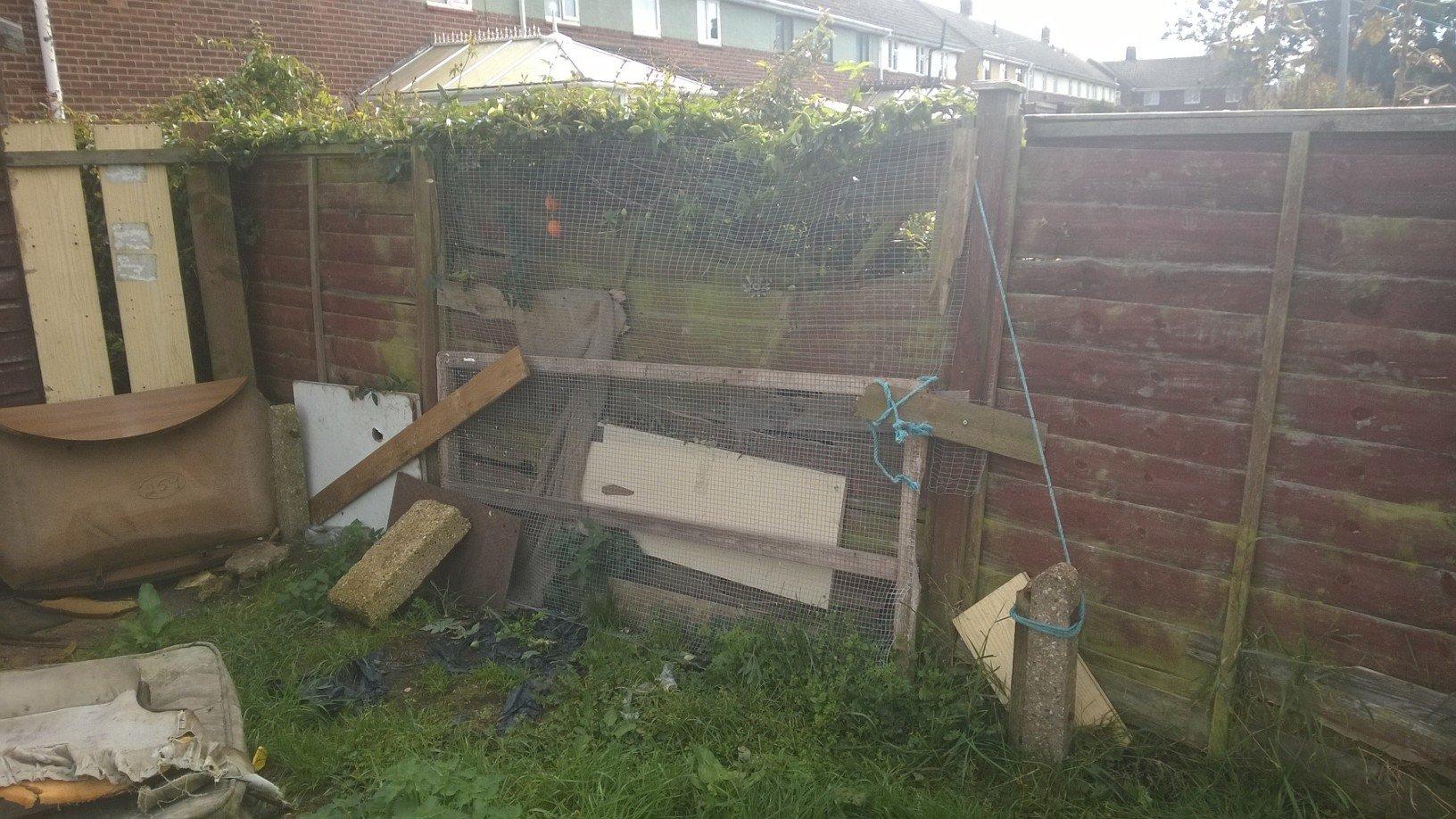 garden area damaged wall