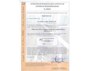 Certificato centro di trasformazione