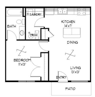 Plan 1.3 unfurnished 1-bedroom at Meadowbrook in Lawrence, Kansas