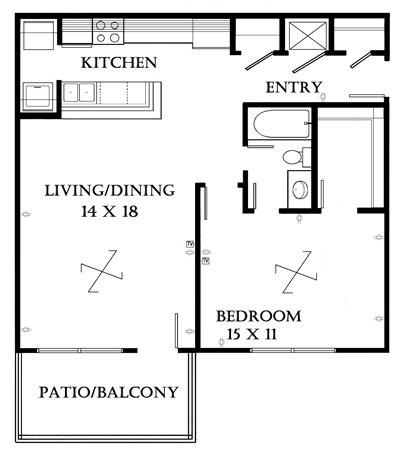 Plan 702 unfurnished 1-bedroom at Meadowbrook in Lawrence, Kansas