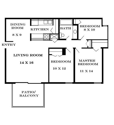 Plan 1010 unfurnished 3-bedroom at Meadowbrook in Lawrence, Kansas