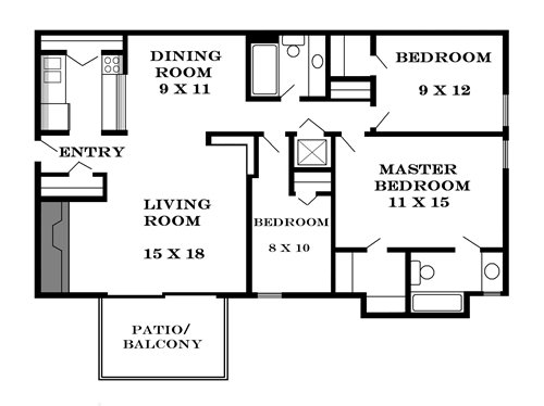 Plan 1170 unfurnished 3-bedroom apartment at Meadowbrook in Lawrence, Kansas