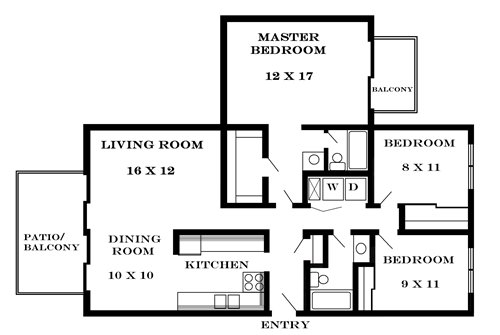 Plan 1300 unfurnished 3-bedroom apartment at Meadowbrook in Lawrence, Kansas