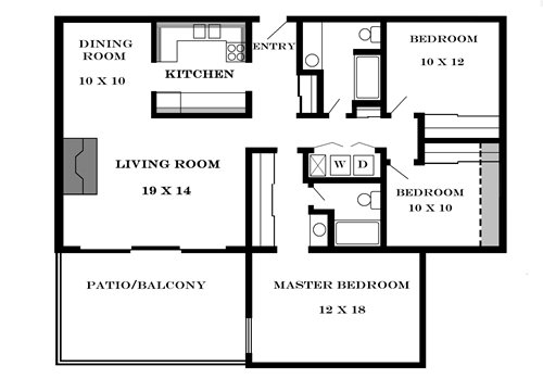 Plan 1450 unfurnished 3-bedroom apartment at Meadowbrook in Lawrence, Kansas