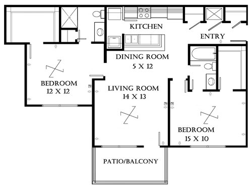 Plan 2.3 unfurnished 2-bedroom at Meadowbrook in Lawrence, Kansas