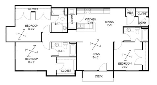 Plan 3.1 unfurnished 3-bedroom apartment at Meadowbrook in Lawrence, Kansas