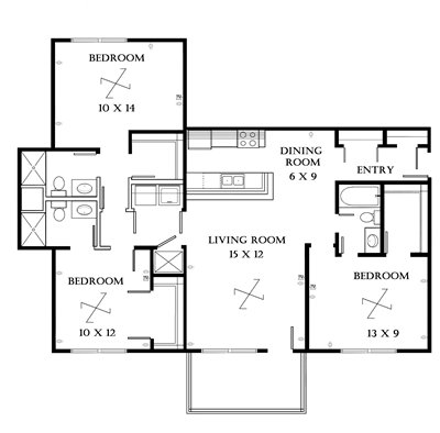 Plan 3.2 unfurnished 3-bedroom apartment at Meadowbrook in Lawrence, Kansas