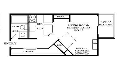 Plan 435 studio at Meadowbrook in Lawrence, Kansas