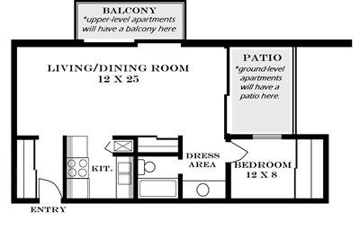 Plan 595 super studio apartment at Meadowbrook in Lawrence, Kansas