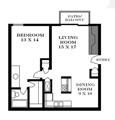 Plan 740 unfurnished 1-bedroom at Meadowbrook in Lawrence, Kansas
