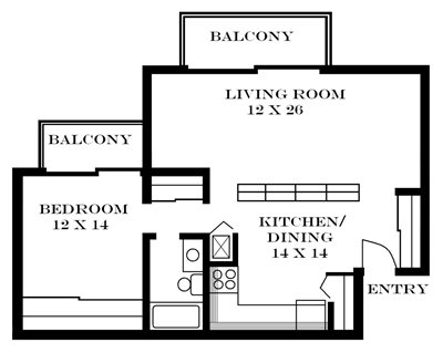 Plan 822 unfurnished 1-bedroom at Meadowbrook in Lawrence, KS