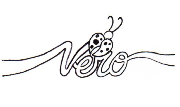 un disegno con scritto Vero e una coccinella a forma di un cuore